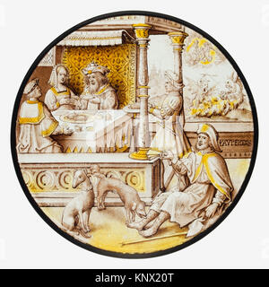 Roundel with Lazarus at the House of Dives. Date: ca. 1520; Culture: South Netherlandish; Medium: Colorless glass, - Stock Photo