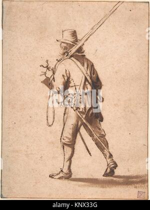 A Walking Musketeer, seen from behind. Artist: Anthonie Palamedesz. (Dutch, Delft 1601-1673 Amsterdam); Date: 17th - Stock Photo