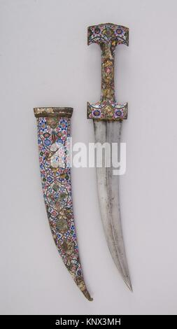 Dagger (Jambiya) with Sheath. Date: early 19th century; Culture: Persian, Qajar; Medium: Steel, copper, enamel, - Stock Photo
