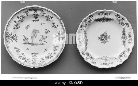 Plate. Date: ca. 1750-75; Culture: French, possibly Montpellier; Medium: Tin-glazed earthenware; Dimensions: Diam. - Stock Photo