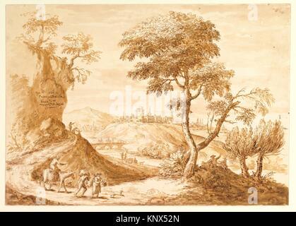 Landscape with a Town in the Distance. Artist: Anton Maria Zanetti the Elder (Italian, Venice 1680-1767 Venice); - Stock Photo