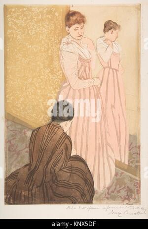 The Fitting. Artist: Mary Cassatt (American, Pittsburgh, Pennsylvania 1844-1926 Le Mesnil-Théribus, Oise); Date: - Stock Photo