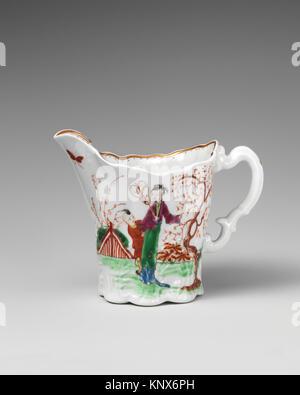 Jug. Factory: Worcester; Date: ca. 1753; Culture: British, Worcester; Medium: Soft-paste porcelain; Dimensions: - Stock Photo