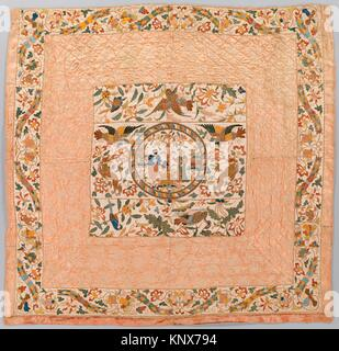 Quilt. Date: central panel and outer border: 17th century; inner border: second half of 17th century; Culture: Chinese - Stock Photo