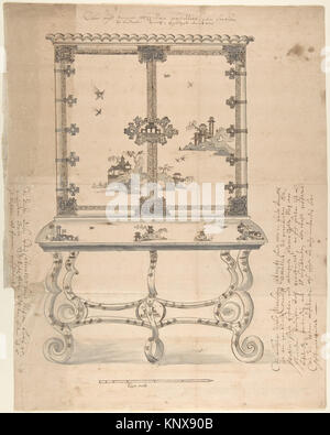 Design for a Chinese-style Lacquer Cabinet MET DP804525 383298 Artist: Anonymous, German, 18th century, Artist: - Stock Photo