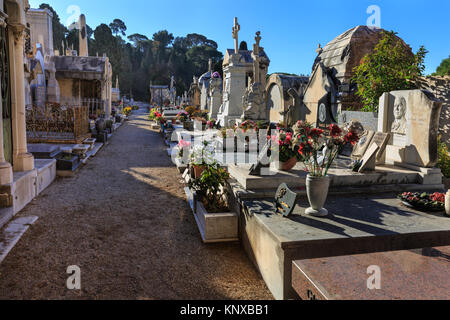 The Cimetière du Château cemetery and graveyard in Castle Hill in Nice, France - Stock Photo