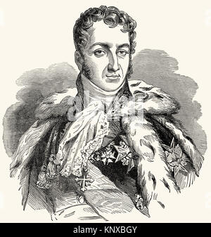 Prince Jules Auguste Armand Marie, Count of Polignac, 1780 –1847, 3rd Duke of Polignac, a French statesman - Stock Photo