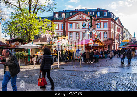 Frankfurt am Main, Germany, Liebfrauenberg square in historic old town with traditional German Christmas market in front of Baroque House of Paradise