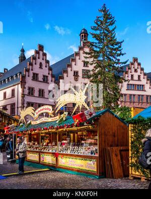 Germany Frankfurt Old Town, Römerberg square  Römer  City hall.Historic building with Traditional German Christmas - Stock Photo