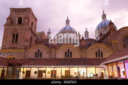 Cuenca, Ecuador - the Cathedral of the Immaculate Conception ( Catedral de la Inmaculada Concepción ), at sunset, - Stock Photo