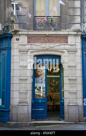 Cote Basque Philatelie Shop; Rue de la Monnaie Street; Bayonne; France; - Stock Photo