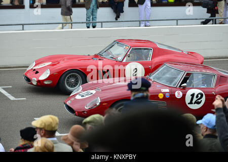 John Hugenholtz and Stefan Johansson  in the Ferrari 250 Drogo alongside on the grid Lukas Huni and Carlo Vogele - Stock Photo