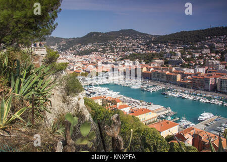 Overview of Port Lympia, Nice, France from Castle Hill. - Stock Photo