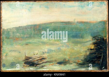 Landscape at Saint-Ouen. Artist: Georges Seurat (French, Paris 1859-1891 Paris); Date: 1878 or 1879; Medium: Oil - Stock Photo