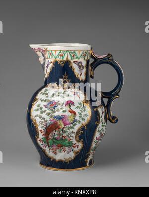 Jug. Factory: Worcester; Date: 1770-75; Culture: British, Worcester; Medium: Soft-paste porcelain; Dimensions: Height: - Stock Photo