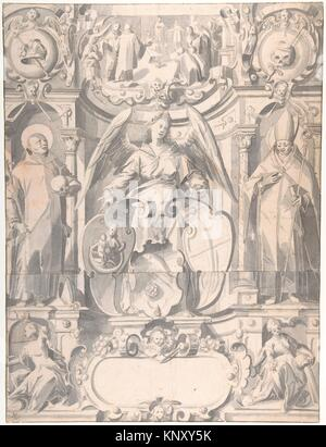 Design for a Stained Glass Window or Frontispiece with the Arms of a Cleric. Artist: Johann Heiss (German, Memmingen - Stock Photo