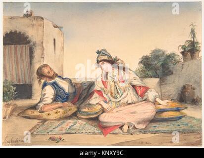 A Moorish Couple on Their Terrace. Artist: Eugène Delacroix (French, Charenton-Saint-Maurice 1798-1863 Paris); Date: 1832; Medium: Watercolor over