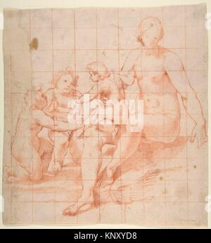 Study for a Virgin and Child with Two Angels (recto); Two Studies of Hands (verso). Artist: Attributed to Poppi - Stock Photo