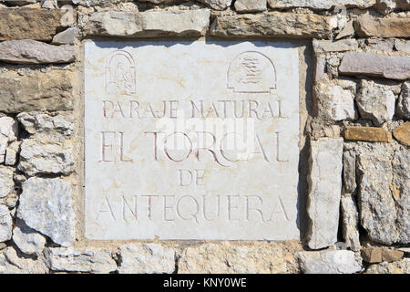 Sign at the entrance to El Torcal de Antequera nature reserve, located south of the city of Antequera in the province - Stock Photo