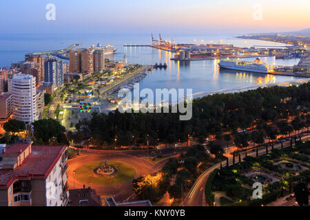 Panoramic view over the Port of Malaga on the Costa del Sol in the South of Spain - Stock Photo