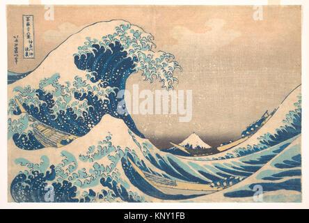 冨嶽三oå…æ™¯ã€€ç¥žå¥ˆå·æ²-浪裏/Under the Wave off Kanagawa (Kanagawa oki nami ura), also known as The Great - Stock Photo
