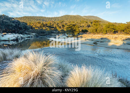 Frosty morning at the Thredbo River at Thredbo Diggings in Kosciuszko National Park in the Snowy Mountains in southern - Stock Photo
