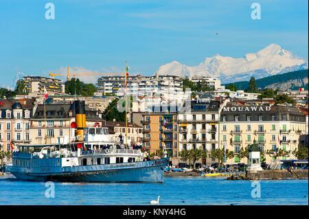 A Steamboat, lake Geneva, Geneva, Switzerland, Europe. - Stock Photo