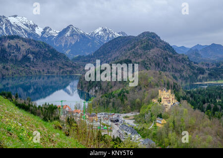 Hohenschwangau castle, view from Neuschwanstein castle, the famous viewpoint in Fussen, Germany - Stock Photo