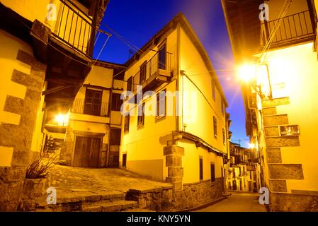 Small square, corner and street in Candelario, Salamanca, Spain. - Stock Photo