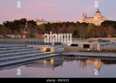 Cathedral of Almudena in Madrid Rio park, Madrid, Spain. - Stock Photo