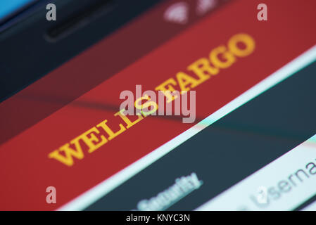 New york, USA - December 12, 2017: Wells Fargo bank moblie menu application menu on smartphone screen close-up. - Stock Photo