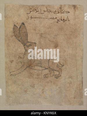 Hare , Folio from the Mantiq al-wahsh (Speech of the Wild Animal) of Ka'b al-Ahbar MET DP235885 Hare , Folio from - Stock Photo