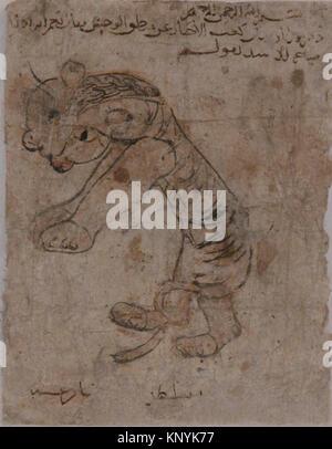 Hare , Folio from the Mantiq al-wahsh (Speech of the Wild Animal) of Ka'b al-Ahbar MET sf54-408-3b Hare , Folio - Stock Photo