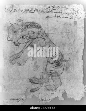 Hare , Folio from the Mantiq al-wahsh (Speech of the Wild Animal) of Ka'b al-Ahbar MET 54.108.3a Hare , Folio from - Stock Photo