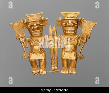 Double Bat-Head Figure Pendant. Date: 11th-16th century; Geography: Panama; Culture: Chiriqui; Medium: Gold; Dimensions: - Stock Photo