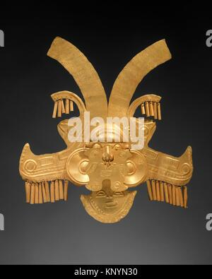 Headdress Ornament. Date: 1st-7th century; Geography: Colombia; Culture: Calima (Yotoco); Medium: Gold; Dimensions: - Stock Photo