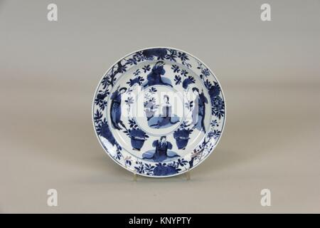 Plate. Period: Qing dynasty (1644-1911), Kangxi period (1662-1722); Culture: China; Medium: Porcelain; Dimensions: - Stock Photo