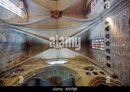 Cathedral of Santa María de Girona interior. Girona, Catalonia, Spain, Europe. - Stock Photo