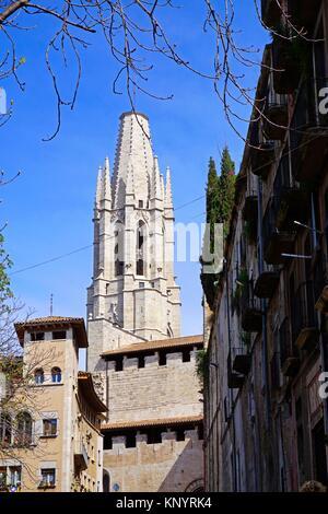 Sant Feliu Church. Girona, Catalonia, Spain, Europe. - Stock Photo
