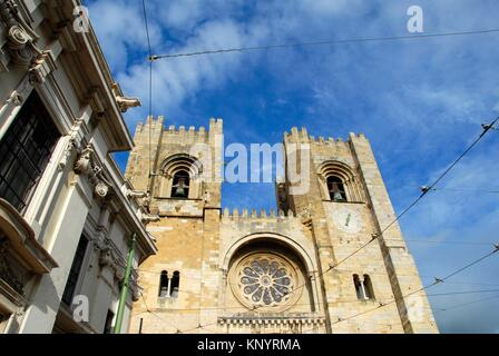 Se Patriarcal -Lisbon Cathedral- built in the 12th century. Alfama, Lisbon, Portugal. - Stock Photo