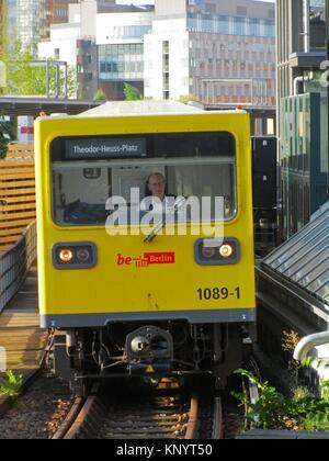 A U-Bahn network train approaching the station of Mockernbrucke. Berlin, Germany, Europe. - Stock Photo