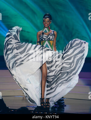 MIAMI, FL - JANUARY 21: Miss South Africa Ziphozakhe Zokufa competes in the The 63rd Annual Miss Universe Preliminary Competition and National Costume Show, held at U.S. Century Bank Arena, Florida International University on January 21, 2015 in Miami, Florida.  People:  Miss South Africa Ziphozakhe Zokufa