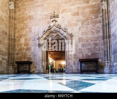 Door in the interior of the Lonja de la Seda (Silk Exchange), Valencia, Spain - Stock Photo