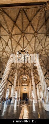 Columnary Hall of the Lonja de la Seda (Silk Exchange), Valencia, Spain - Stock Photo