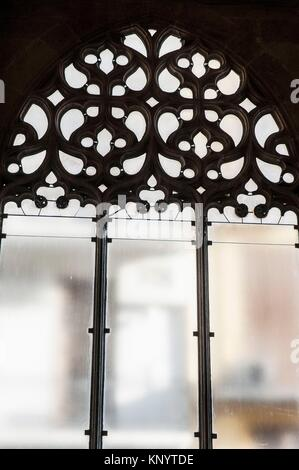 Window in the hall of columns of the Lonja de la Seda (Silk Exchange), Valencia, Spain - Stock Photo