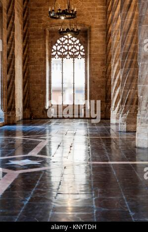 Hall of the columns in the Lonja de la Seda (Silk Exchange), Valencia, Spain - Stock Photo