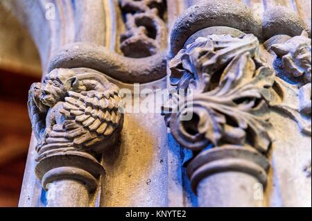 Reliefs in the windows of the orange grove. Building of the Lonja de la Seda (Silk Exchange). Valencia, Spain - Stock Photo