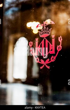Coat of arms of Valencia at the entrance to the hall of columns. Building of the Lonja de la Seda (Silk Exchange). - Stock Photo