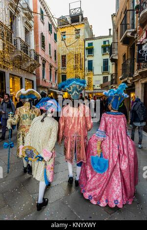 Revelers in carnival costume, Venice Carnival (Carnevale di Venezia), Venice, Italy. - Stock Photo