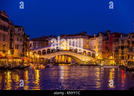Rialto Bridge, Grand Canal, Venice, Italy. - Stock Photo